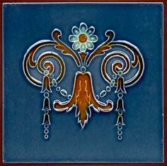 Art Nouveau Flower Tile with Blue Background, c. 1900