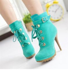 Love the Color on these Lace-up Booties