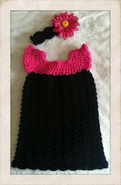 Crochet baby dress with flowered headband by SouthernStitchn, $30.00