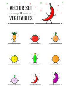Vector set of vegetables on Behance