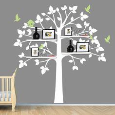 White Tree Wall Decal, Baby Nursery Decor, Shelving Tree, Shelves, Shelf, Tree Sticker. $65.00, via Etsy.