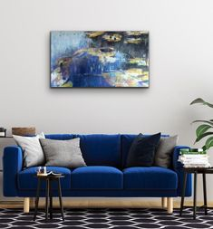 Joanne Reen | Thunzi's Lilies III - available for sale | StateoftheART South African Artists, Lilies, Canvas Size, Love Seat, Original Paintings, House Design, Throw Pillows, Fine Art, Contemporary