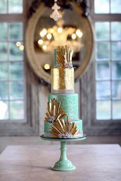 Gold + Light Aqua wedding cake! GORGEEOUS! \ Original post ruffledblog.com \ Photo peppernix.com \ Cake cakealicious.net