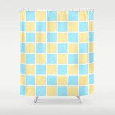 #Blue #Yellow Gouache #Squares #Shower #Curtain
