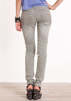 Zip Coin and Studded Denim Jeans