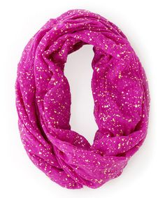 Loving this Magenta & Gold Abstract Isla Infinity Scarf on #zulily! #zulilyfinds