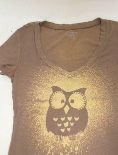 braunes T-Shirt mit Eulenmotiv aufpeppen