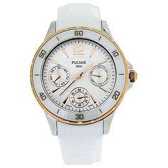Pulsar Ladies Rose Tone Bezel Silver Dial White Plastic Strap Watch PP6022