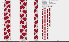 Bead crochet pattern - red&pink hearts on white background 12 around