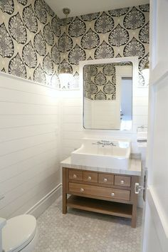 Cool Stunning Powder Room With Shiplap And Wallpaper Silverhawk Download Free Architecture Designs Scobabritishbridgeorg