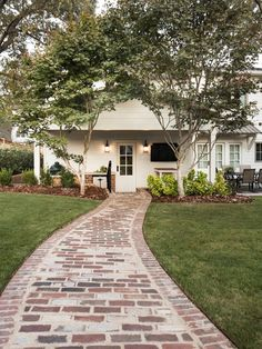 35 Amazing Cottage House Exterior Design Ideas - About-Ruth Backyard Walkway, Brick Pathway, Concrete Walkway, Brick Pavers, Flagstone Paving, Paving Stones, Cobblestone Walkway, Mosaic Walkway, Concrete Houses
