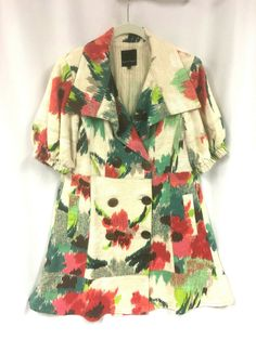The perfect seasonal addition to your wardrobe, wear this as a dress or as an overcoat. Fully lined, double breasted with short puffy sleeves. Cute Clothes For Women, Nanette Lepore, Floral Shorts, Sleeve Designs, Retro Dress, Coat Dress, Fit And Flare, Double Breasted, Party Dress