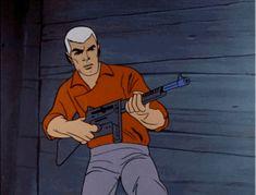 Race Bannon shoots a machine gun Vintage Toys 1960s, Vintage Cartoons, Classic Cartoons, Cool Cartoons, Jonny Quest Cartoon, Race Bannon, Comic Book Artists, Comic Books, Jeff Chandler