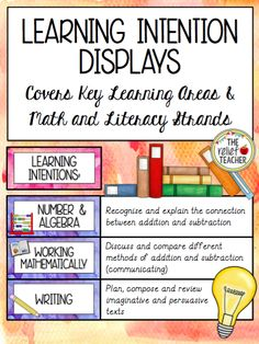 Visual displays of learning intentions and success criteria are a powerful tool in any classroom. Included in this pack are learning intention posters for all Key Learning Areas and Math and Literacy strands. Also provided are over 30 daily schedule cards!