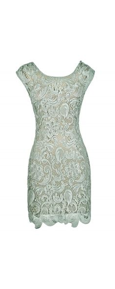 Waiting On The Terrace Fitted Lace Dress in Mint/Beige  www.lilyboutique.com