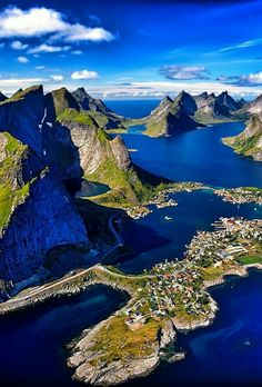Reinefjord Aerial Lofoten Islands, Norway ~ photo by Douglas Places To Travel, Places To See, Places Around The World, Around The Worlds, Lofoten Islands Norway, Norway Fjords, Vacation Spots, Vacation Travel, Usa Travel