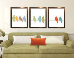 Birds on a Branch Series  Set of 3  Art Prints by pixiepixels