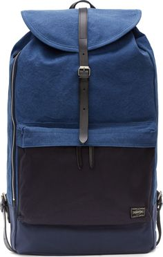 Porter Blue Denim Colorblock Rucksack