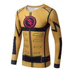 Flash+Superhero+Compressed+Long+Sleeve+Shirt+Marvel+DC+SALE+-Gold/Yellow