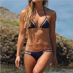 2017 sommer Brasilianischen plus größe Dreieck bikini set sexy neckholder bandage push up badeanzug Thong beach frauen bademode