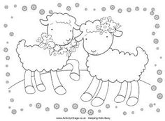 Spring lambs colouring page