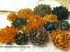 Dyed pistachio shell flowers. You could make so many different projects with these! I'm trying to decide how to use mine.