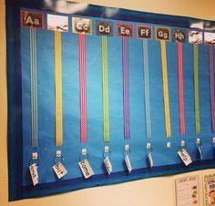 Alphabet Word Wall by Sarah from Kindergarten Smarts. The hooks on the bottom of the ribbon make the word wall interactive because the students can take them to their seat when needed.