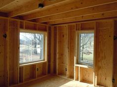 Thick walls that don't waste wood. The exterior row of studs supports the floor… Solar House Numbers, Patio Lanterns, Framing Construction, Timber Roof, Backyard Sheds, Passive House, Wooden House, House In The Woods, Frames On Wall