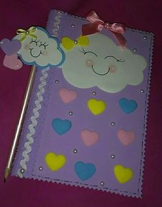 Capas de caderno Foam Crafts, Preschool Activities, Diy And Crafts, Crafts For Kids, Arts And Crafts, Paper Crafts, Felt Decorations, Decorate Notebook, Notebook Covers
