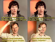 "When Sherlock has a super long deduction. <I bet playing Sherlock is like driving in a car really fast, and then when you get to a large deduction it's like ""Oh, my- is that a wALL! Sherlock Fandom, Sherlock John, Sherlock Holmes, Benedict Cumberbatch Sherlock, Sherlock Cast, Sherlock Bored, Funny Sherlock, Watson Sherlock, Jim Moriarty"