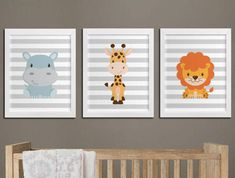 Nursery printable safari animals wall art set, lion hippo and giraffe nursery custom colors wall art, playroom wall decor instant download PLEASE READ Please note, this listing is for DIGITAL FILES - no print will be mailed, this listing does not include a physical item. You can