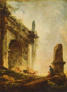 Hubert Robert, Ancient ruins (the Arch of Titus in Rome), 1754-1765, color on paperboard, Budapest, Museum of Fine Arts.