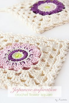 Japanese inspiration crochet square coasters