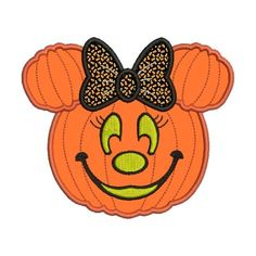 Applique Minnie Mouse Pumpkin Jack o Lantern Machine Embroidery Designs and Included - Insta Minnie Mouse Pumpkin, Minnie Mouse Halloween, Mickey Mouse, Halloween Yard Art, Halloween Bows, Halloween Patterns, Halloween 2020, Sewing Machine Embroidery, Vintage Embroidery