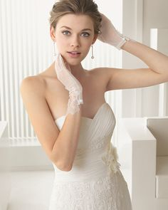 Tulle dress with lace beading in a natural colour. Beaded lace and tulle jacket in a natural colour. Tulle and taffeta flower with lace beading in a natural colour. Lace and tulle gloves, short, natural colour. 2015 Wedding Dresses, Tulle Wedding, Bridal Lace, Bridal Style, Wedding Bride, Bridal Dresses, Wedding Gowns, Wedding Ideas, Tulle Dress