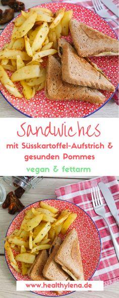 Vegane Sandwiches mit einem selbstgemachten Süßkartoffel-Aufstrich & veganem Mozzarella sowie fettarmen Pommes. Hier geht's zum Rezept! #vegan #ohnesoja #fettarm #lowfat #sandwich #brot #gesund #lecker #abendessen #mittag #snack #healthylena #fastfood #lecker #schnell