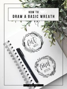 Draw a basic wreath using this step-by-step guide then just add initials or quotes for instant, personalized wall art. @DrawntoDIY