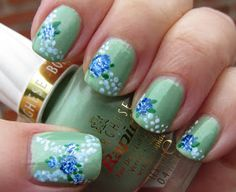 Marias Nail Art and Polish Blog: Menta with flowers and floating petals