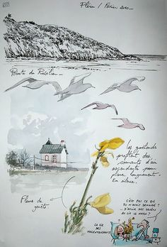 Watercolor Sketchbook, Watercolor Projects, Art Sketchbook, Watercolor Print, Seascape Paintings, Watercolor Paintings, Nature Sketch, Nature Journal, Sketchbook Inspiration