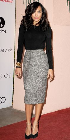 NAYA RIVERA At an event honoring women in entertainment, Rivera showed up in a black long-sleeve bodysuit and a black-and-white tweed pencil skirt, both by Michael Kors, with a stack of gold bracelets and gold ankle-strap black Casadei heels. Office Fashion, Work Fashion, Modest Fashion, Fashion Today, Fashion Pants, Trendy Fashion, Womens Fashion, Business Outfit, Business Fashion
