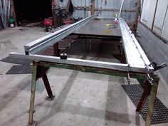 20' aluminum slide gate single panel with track during fabrication.
