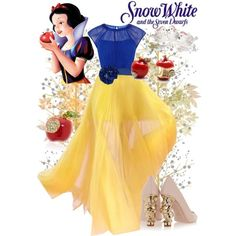 Snow White by violetvd on Polyvore featuring polyvore fashion style Coast RED Valentino Caspari Alexis Mabille Disney