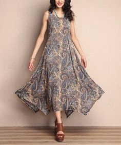 Brown Paisley Scoop Neck Handkerchief Maxi Dress $34.99 by Zulily