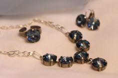 Swarovski Denim Blue Necklace With Dangling Pendant by gemforjoy