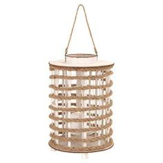 Add a touch of nautical flair to your home d�cor with this charming piece, artfully crafted for lasting appeal.Product: Lantern    Construction Material: Wood and rope Color: Natural Accommodates:   (1) Candle - not includedDimensions: 18 H x 12 Diameter    Cleaning and Care: Wipe with dry cloth     Shipping: This item ships small parcelExpected Arrival Date: Between 05/15/2013 and 05/23/2013Return Policy: This item is final sale and cannot be returned