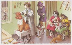 Alfred Mainzer Cats at the Dog Barber Shop Artist Eugen Hartung Vintage Dressed Kitties Comic Postcard Kittens Watching Dogs at  Pet Parlor