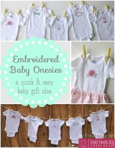 Cutest baby gift idea! Embroidered Baby Onesies! | Craftaholics Anonymous®