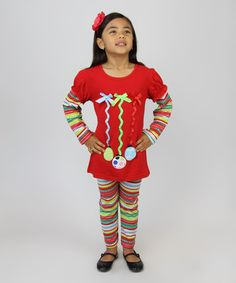 Look what I found on #zulily! Red Ornament Tunic & Striped Leggings - Infant, Toddler & Girls #zulilyfinds