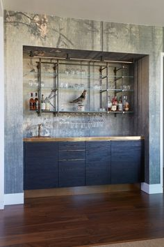 Charred Pine + Brass Bar with Hanging Collector's Shelving - Amuneal: Magnetic Shielding & Custom Fabrication Wet Bar Designs, Home Bar Designs, Home Design, Home Wet Bar, Bars For Home, Home Bar Rooms, Modern Home Bar, Indoor Bar, Luxury Bar