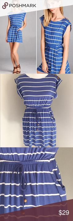 """Stripe Mini Dress Super cute striped mini dress. Has elastic tie at waist and adorable pockets!!! 95% Rayon, 5% Spandex, super comfy & stretchy.  Approx measurements are: Small 18"""" Medium 19"""" Large 20"""" underarm to underarm with about 2-3"""" stretch, length is approx 30"""" shoulder to hem. MADE IN USA. Sizes S-L, select size at checkout. Price is firm, no trades. Thanks for shopping my closet!  Boutique Dresses Mini"""